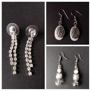 ✨White Sparkly Earrings (set of 3)